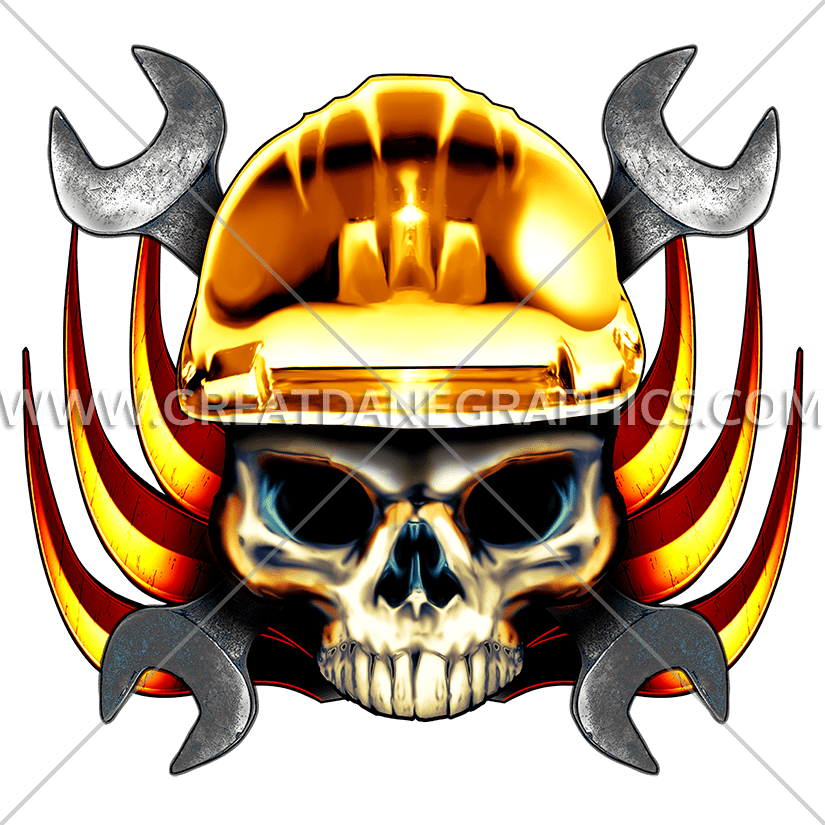 Wrench production ready artwork. Welding clipart skull