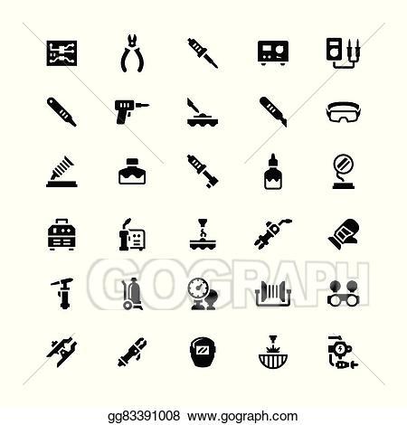 Welding clipart soldering. Eps illustration set icons