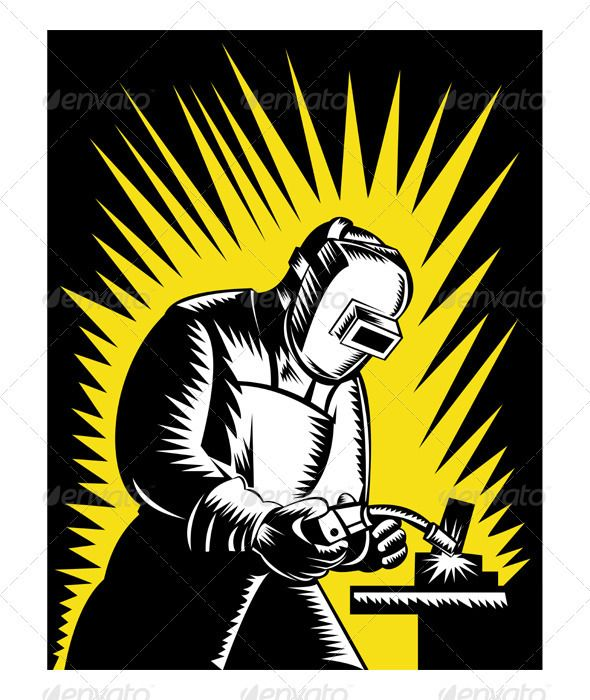 Illustration of a welder. Welding clipart steel worker