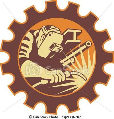 Welding clipart vector. Welder worker torch retro