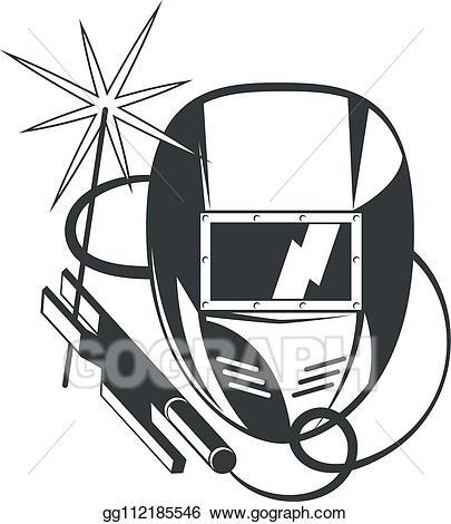 Vector art welder mask. Welding clipart welding machine