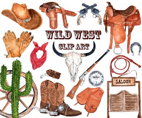 Watercolor western cowboy skull. Wild west clipart