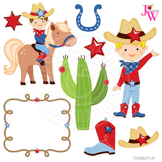Cowboy up cute digital. Western clipart