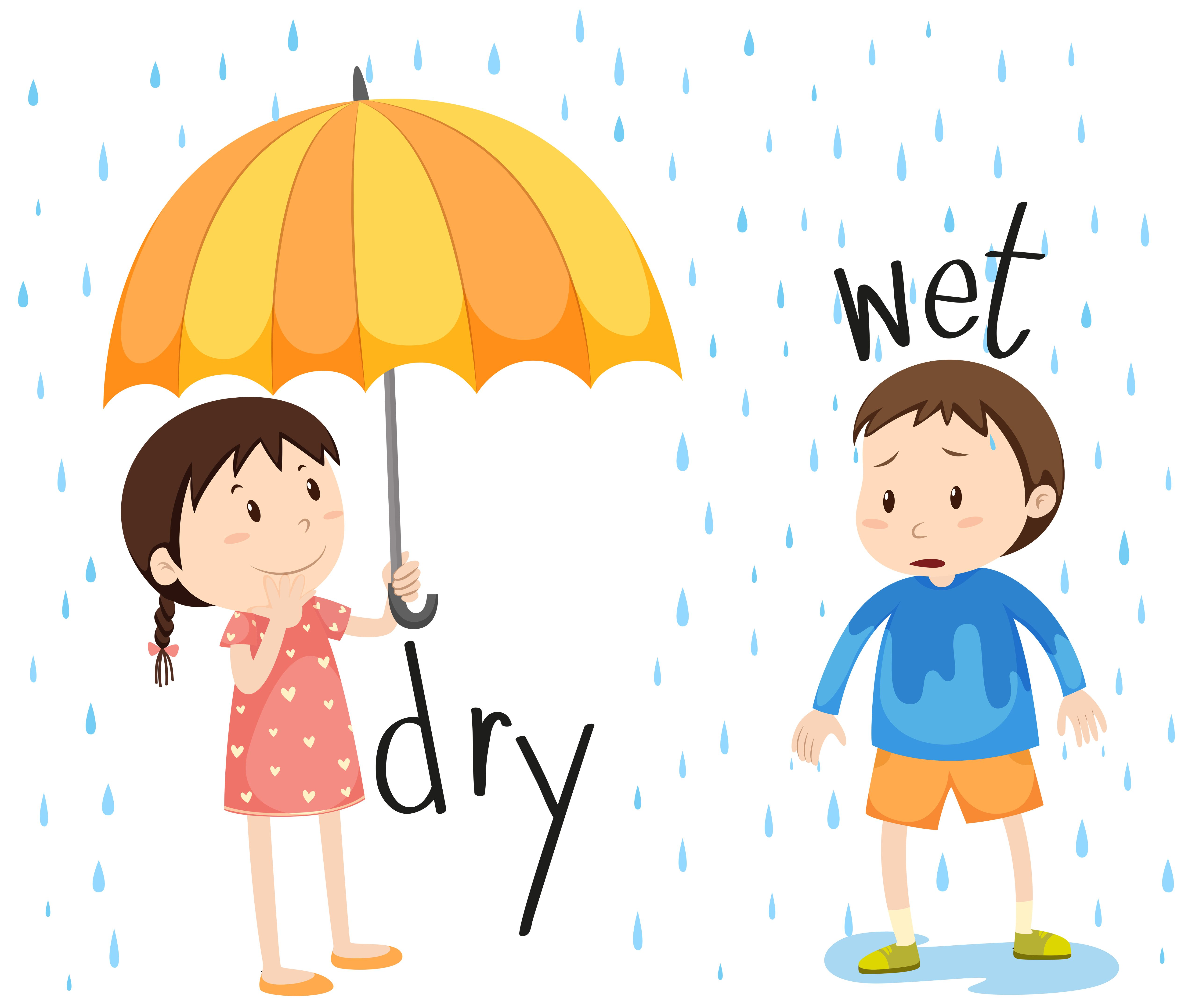 Dry cartoon english grammar. Wet clipart dirty child