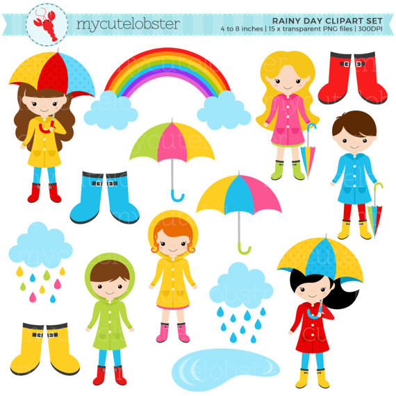 Rainy day character set. Wet clipart goods