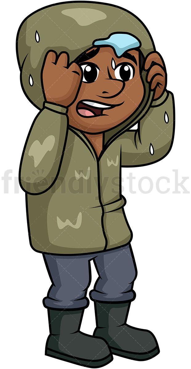 Black man getting in. Wet clipart rain cartoon