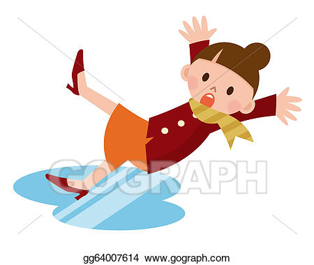 Wet clipart slips and falls. Stock illustration woman down