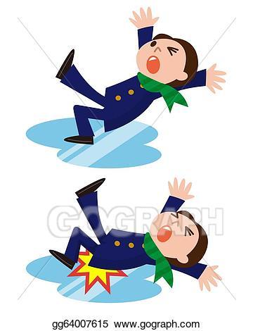 Wet clipart slips and falls. Stock illustration man down