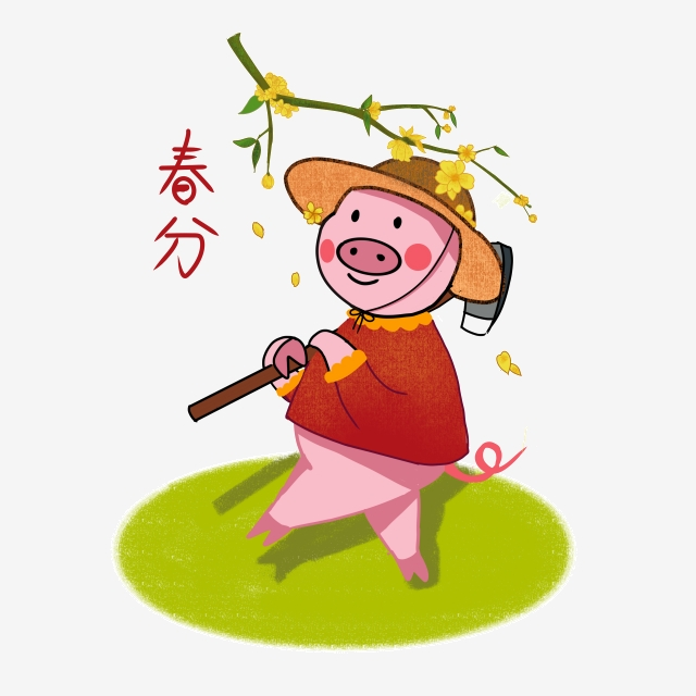 The year of pig. Wet clipart spring
