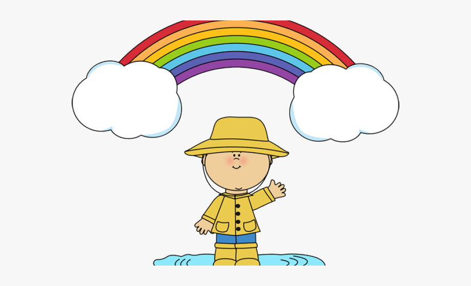 Wet clipart wet child. Puddle free rainbow and