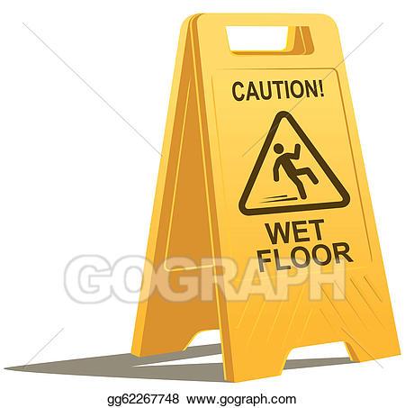 Caution sign stock illustration. Wet clipart wet floor