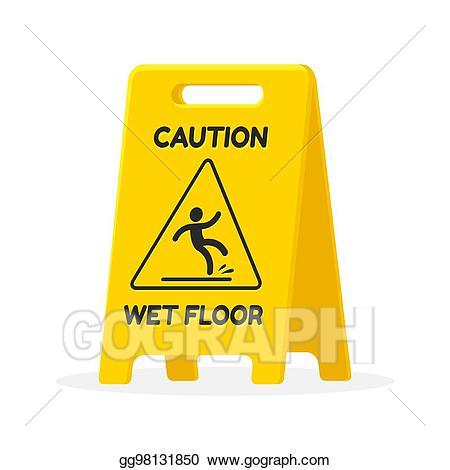 Wet clipart wet floor. Vector sign illustration