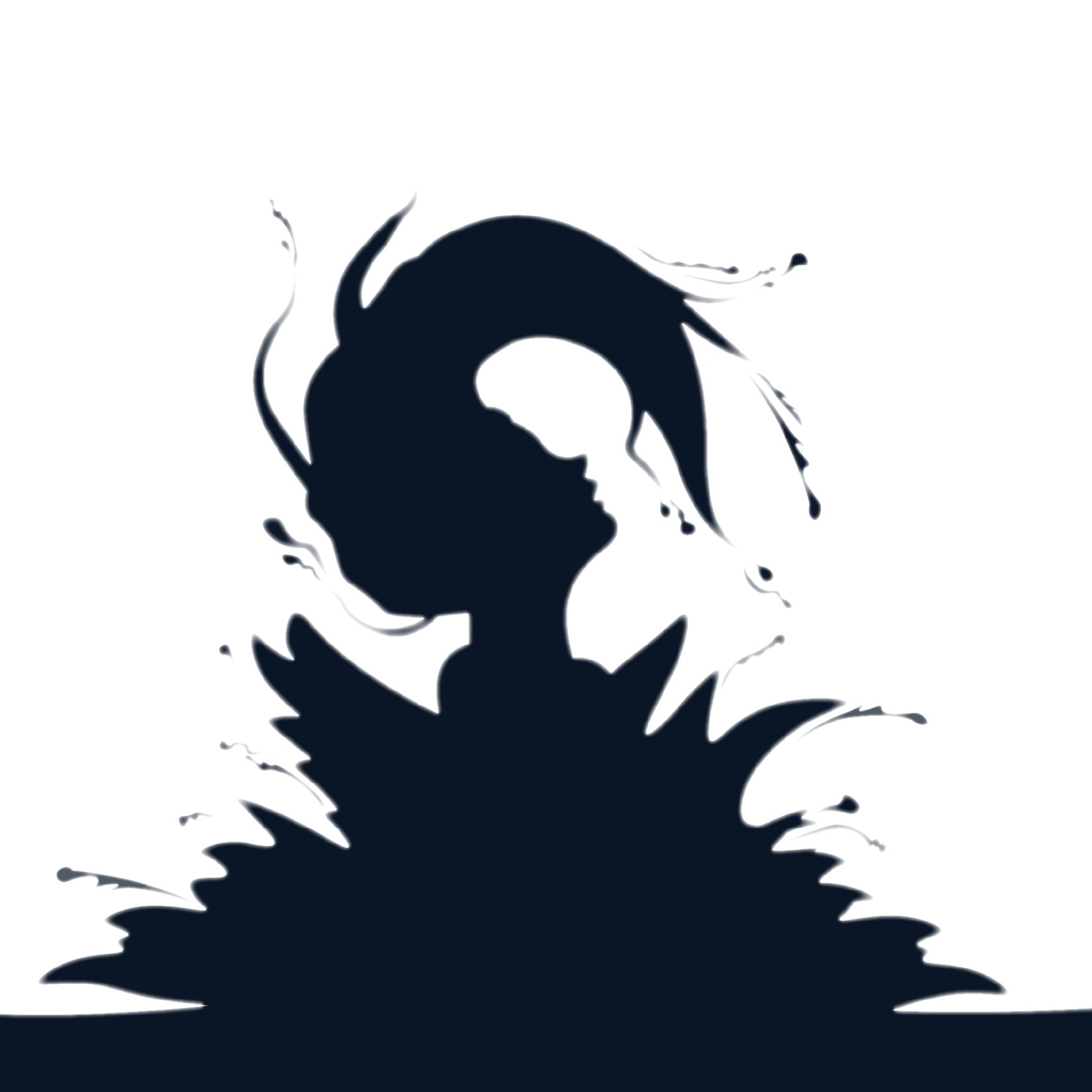 Flipping water silhouette jumping. Wet clipart wet hair