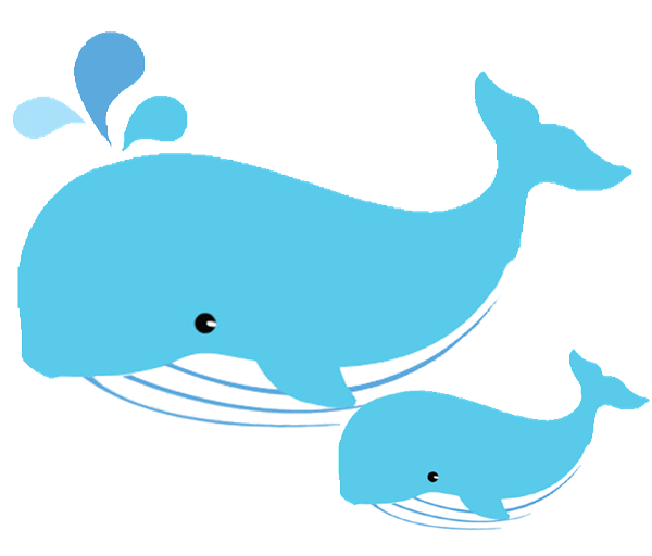 Mom and baby whales. Clipart whale