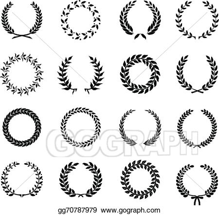Wheat clipart circular. Vector art set of