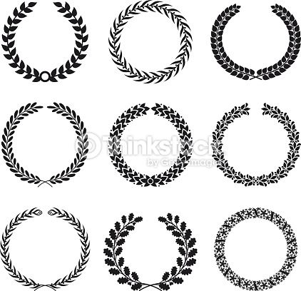Wheat clipart circular. Black silhouettes of laurel