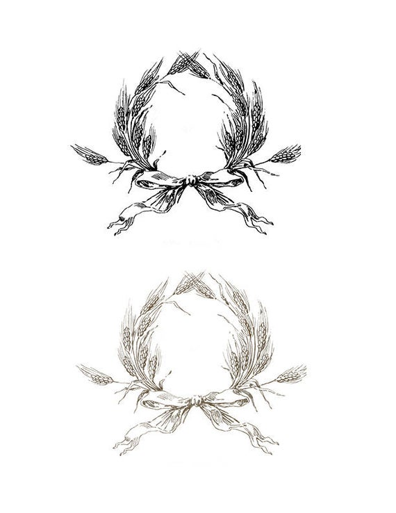Wheat clipart frame. Vintage wreath with bow