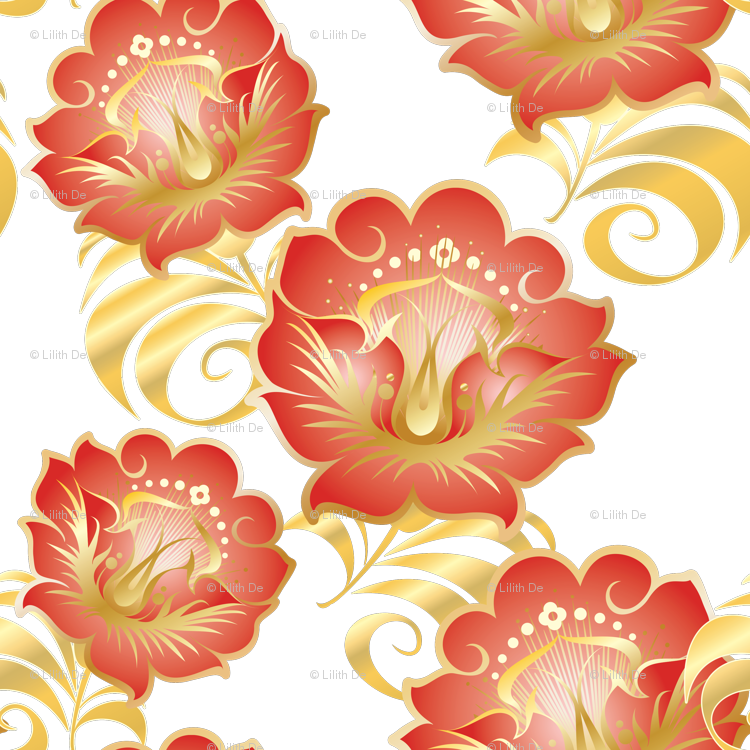 Chinese red flowers bkgrd. Wheat clipart gold paisley