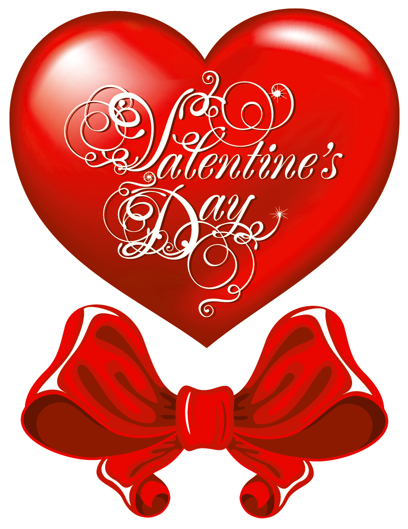 Valentines day hearts png. Heart and red bow