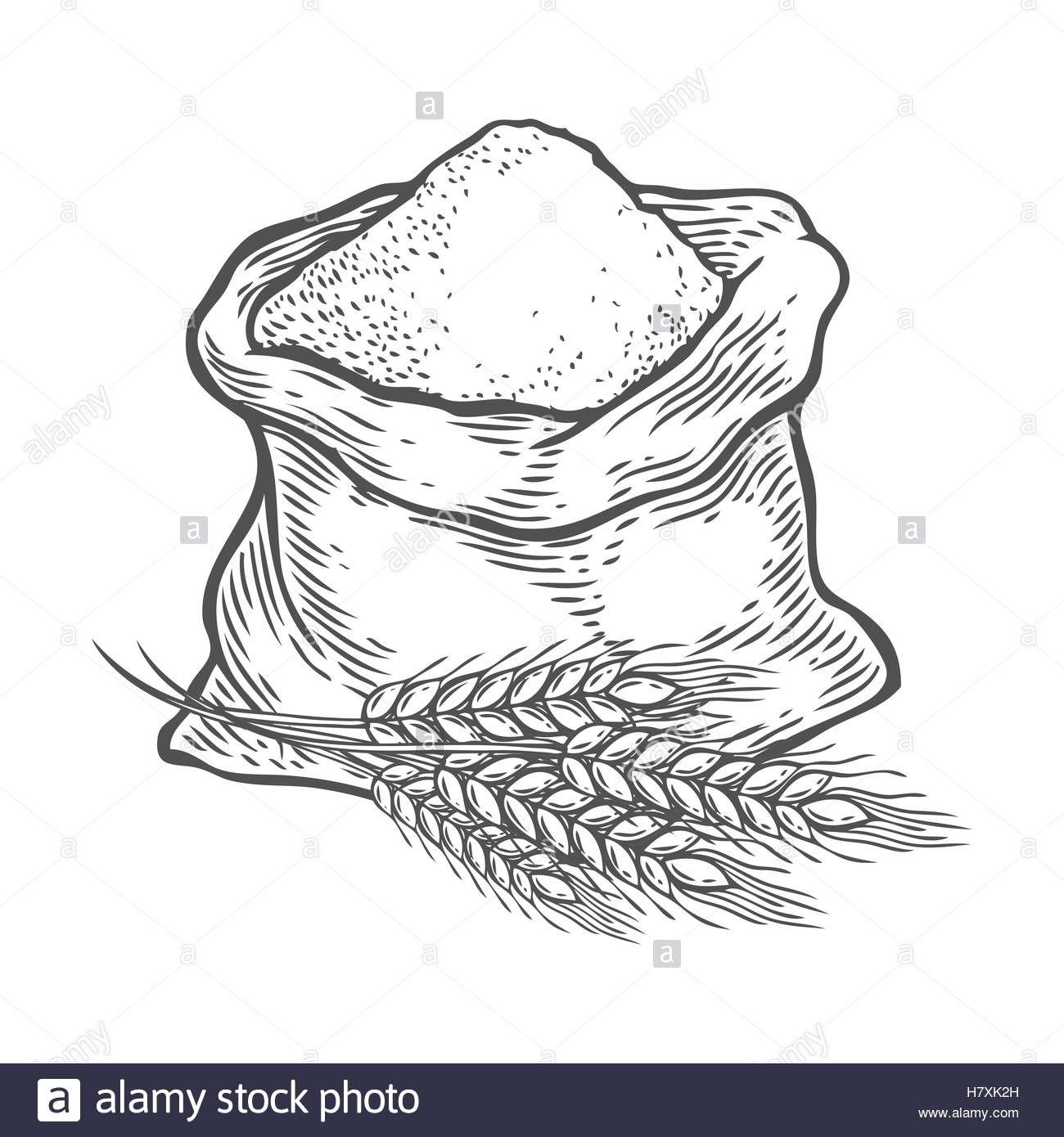 With whole or sugar. Wheat clipart sack flour