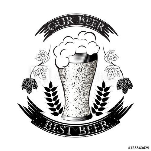 Monochrome vector illustrations beer. Wheat clipart sprig