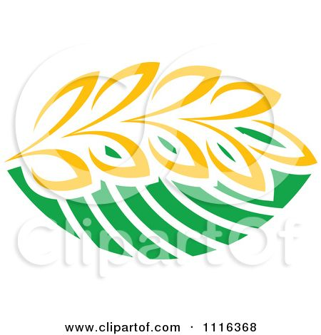 Wheat clipart strand. Of and green leaves