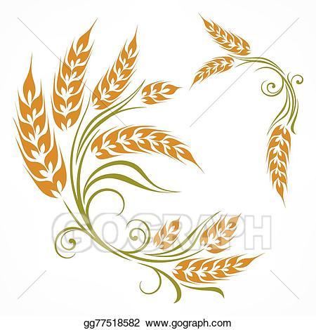 Wheat clipart stylized. Vector illustration pattern eps