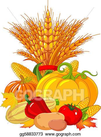 Wheat clipart thanksgiving. Vector illustration harvest design