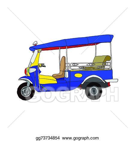 Wheel clipart 3 wheel. Vector hand drawn tuk