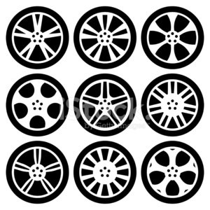 Black silhouettes wheels image. Wheel clipart alloy wheel