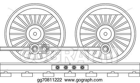 Wheel clipart black train. Vector illustration steam wheels
