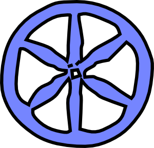Antique clip art at. Wheel clipart blue