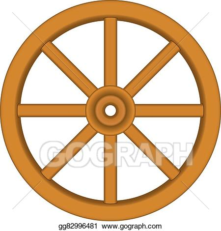 Vector illustration vintage wooden. Wheel clipart brown