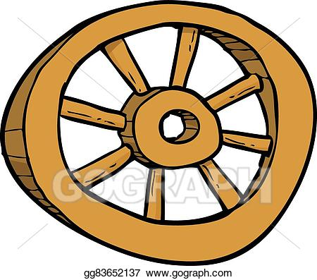 Wheel clipart cartoon. Eps illustration wooden vector