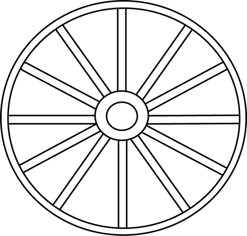Wheel clipart outline. Black and white clip