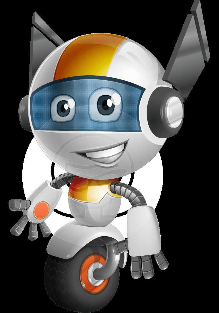 Wheel clipart robot wheel. Vector one cartoon character