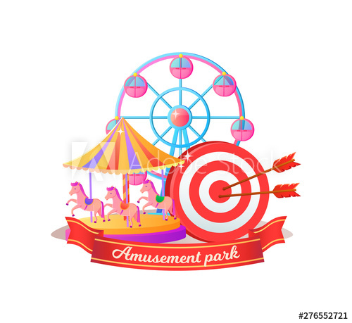 Amusement park poster decorated. Wheel clipart round object