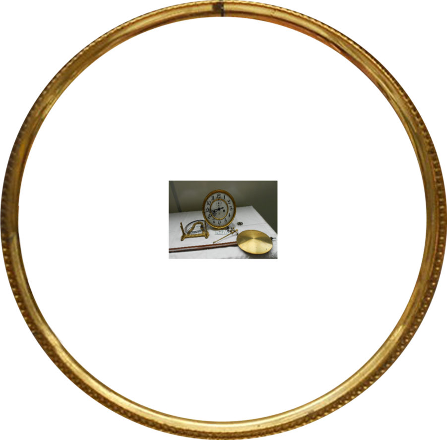 Gold frame clock part. Wheel clipart round object