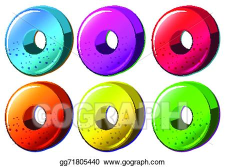 Wheel clipart round object. Vector art colourful drawing