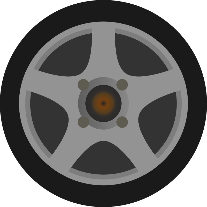 Car tire side view. Wheel clipart simple