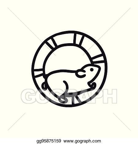 Wheel clipart sketch. Vector stock hamster running