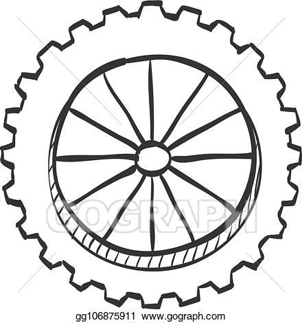 Wheel clipart sketch. Vector art icon motorcycle