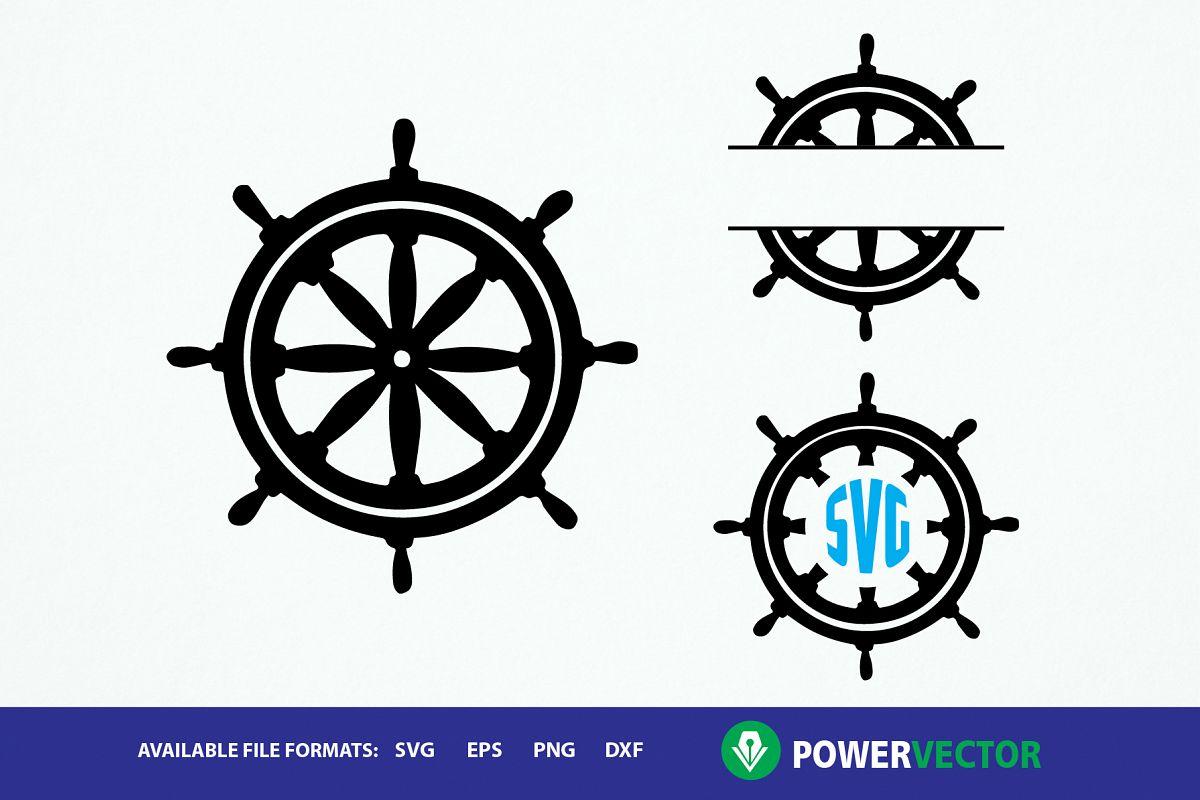 Ship monogram frames dxf. Wheel clipart svg