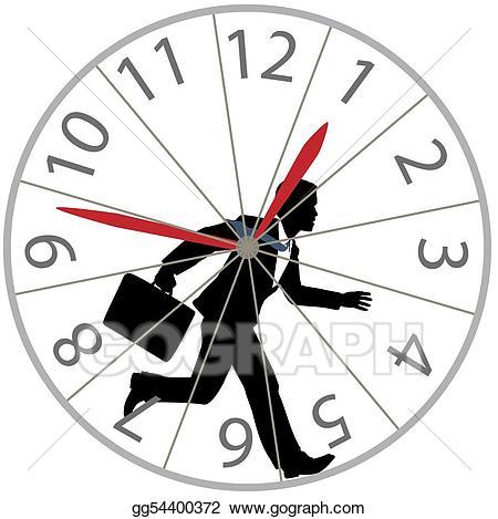 Vector business man runs. Wheel clipart time wheel