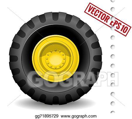 Vector illustration stock clip. Wheel clipart tractor wheel