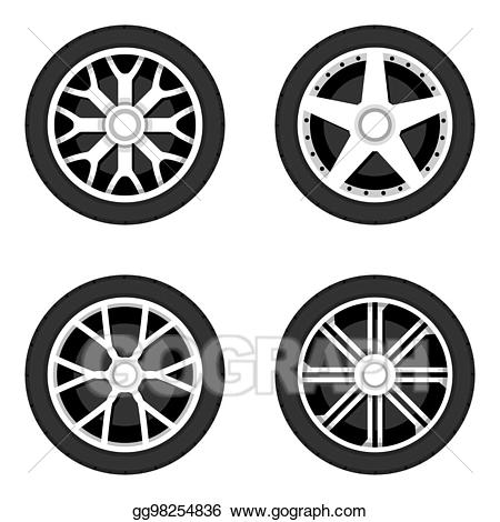 Vector art disk with. Wheel clipart tyre side