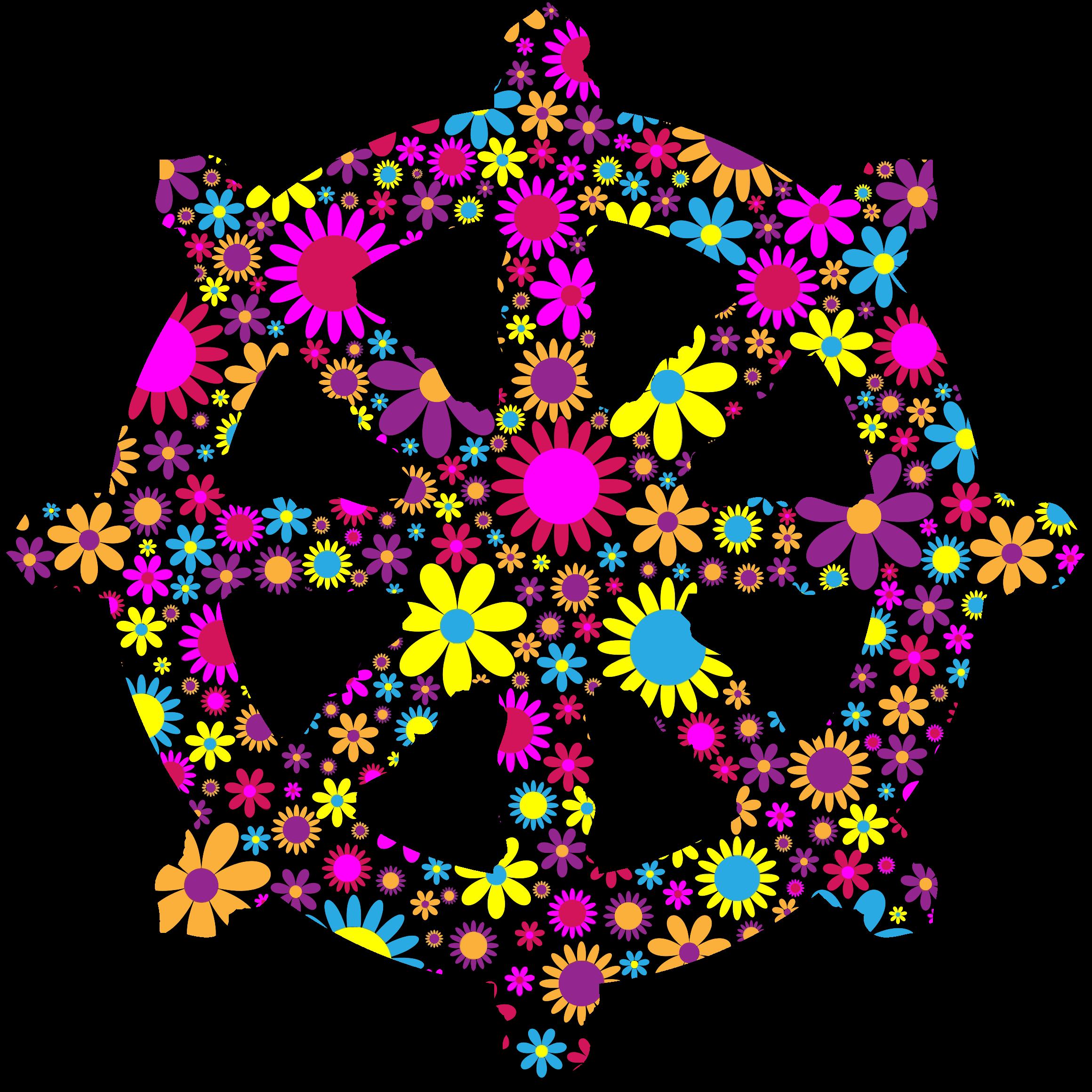 Wheel clipart vector. Floral ornate dharma silhouette