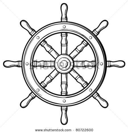 Wheel clipart vector. Sailboat steering rudder stock