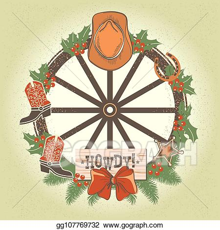 Eps illustration christmas wreath. Wheel clipart western