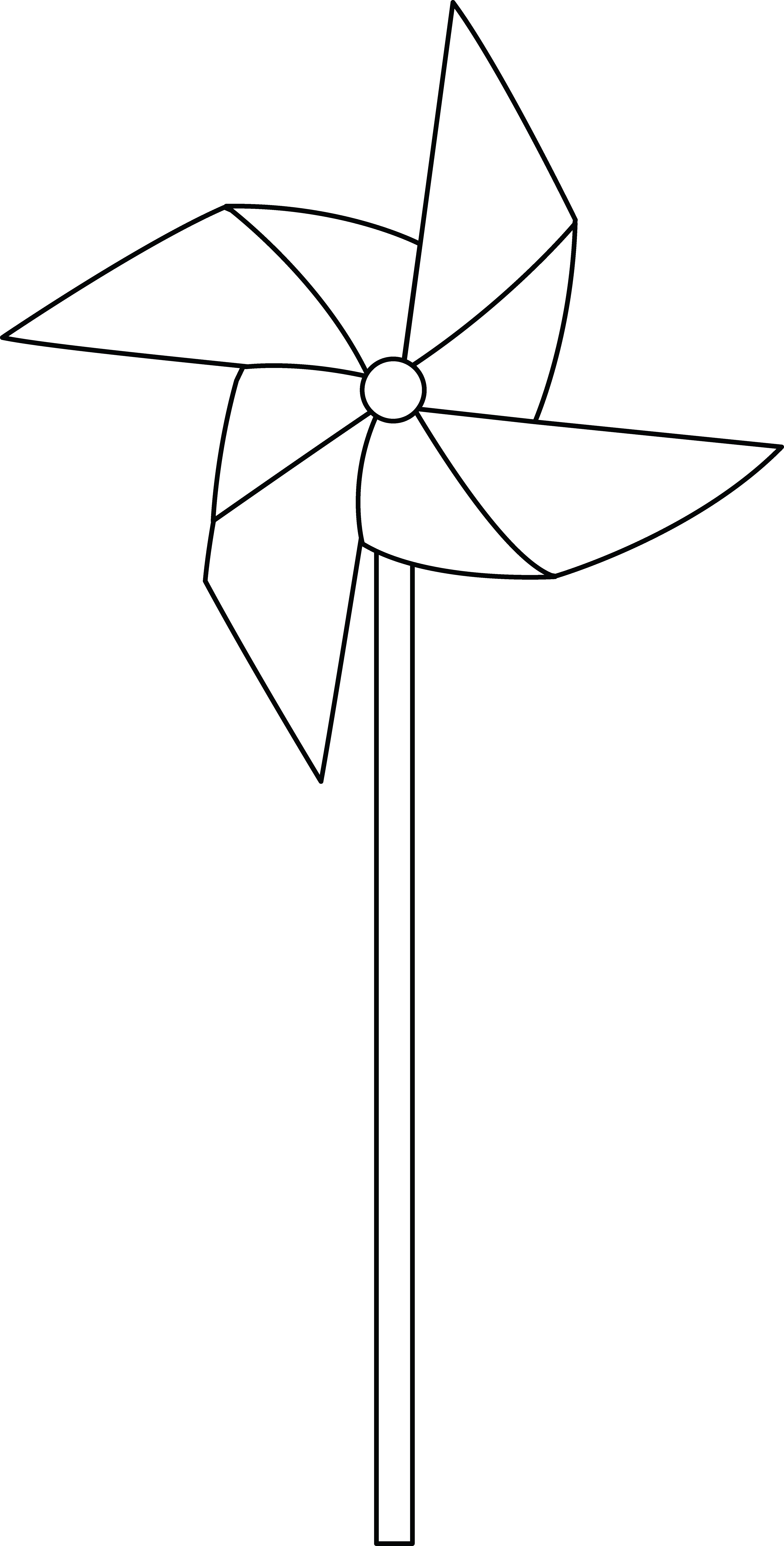 Colorable pinwheel free clip. Windy clipart coloring page